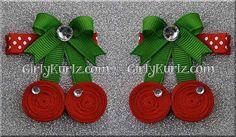 Sweet Cherry Hair Clip Cherry Ribbon Sculpture Fruit by GirlyKurlz, $5.50