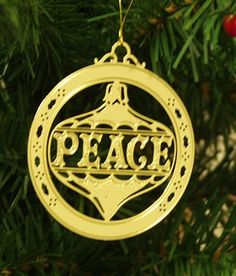Personalized Peace High Polished Brass Custom Christmas Ornament #christmasornaments #personalizedchristmasornaments