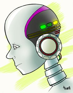 """""""Robot"""" Ilustración a lápiz y tinta, coloreada con Photoshop."""