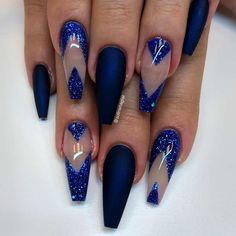 Chic Royal Blue Coffin Nails With Negative Space ❤️Coffin Nails Ideas For Enchanting Look ❤️ See more: https://naildesignsjournal.com/coffin-nails-exciting-ideas/ #naildesignsjournal #nails #nailart #naildesigns