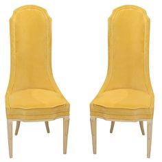 Pair+of+High+Back+Yellow+Side+Chairs