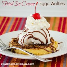 I scream, you scream, we all scream for ice cream! Today's recipe includes ice cream. Waffles and ice cream is a winning combination. So I took the traditional fried ice cream and gave it an Eggo Waffle twist. Eggo Waffles, Frozen Waffles, Savory Waffles, Breakfast Waffles, Breakfast Dessert, Eat Dessert First, Breakfast Ideas, Fried Ice Cream, Ice Cream Desserts