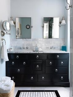 Vintage Dresser Vanity Editor Zim Loy painted a vintage dresser black, added Creations ring pulls from Alno for a campaign-chest look, and turned it into a master bath vanity for her Italianate house in Kansas Ciy, Missouri. Gorgeous Bathroom, Home, Unusual Bathrooms, Bathroom Vanity Designs, Vintage Dressers, Bathrooms Remodel, Bathroom Decor, Bathroom Inspiration, Vanity Design
