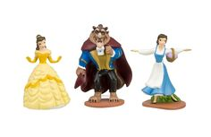 3pc Beauty & The Beast CAKE TOPPER Belle Prince Beast 3 Figure Set Birthday Party Cupcakes Figurines Disney * FAST Shipping *