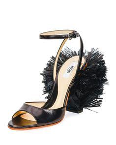 Moschino:  Pom-Pom Leather Sandal, Black