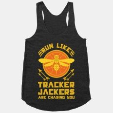 OH NO NOT TRACKER JACKERS. Hunger Games racerback from lookhuman.com