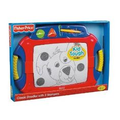 Both my 2 year old and 4 year old like this one.  Very durable and great in the car. Fisher-Price Kid-Tough Classic Doodler with 2 Stampers $20