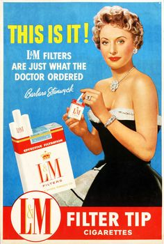 cigarettes were very heavily promoted through tv ads which made it seem appealing to people. also, Women in cigarette advertisements were always young and attractive which helped promote it and made smoking seem attractive. Old Advertisements, Retro Advertising, Retro Ads, Celebrity Advertising, Vintage Cigarette Ads, Serpieri, Pub Vintage, Funny Vintage Ads, Pin Up