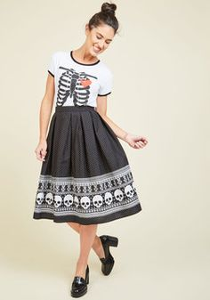 Happy Skull-idays Midi Skirt. Upgrade your red-and-green garb for this black circle skirt! #black #modcloth