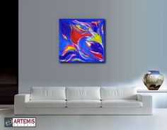 "Painting on Deep Edge Canvas Media: Acrylic Size: 600mm x 600mm (24"" x 24"" Inch) www.ArtemisGaleria.com"