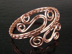 Flowing Copper Wire Weaved & Wrapped Bracelet by BonzerBeads, $34.00