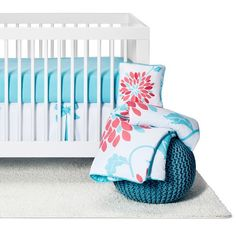 Emma 11 Piece Crib Bedding set has all that your little bundle of joy will need. Let the little one in your home settle down to sleep in this incredible nursery set. This baby girl bedding set features a stunning large floral print and coordinating solid turquoise blue. This collection uses the stylish colors of coral, turquoise blue, and crisp white. The design uses brushed microfiber fabrics that are machine washable for easy care. This wonderful set will fit most standard cribs and…
