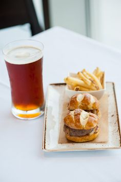 Juicy Lucy with taleggio cheese in a soft pretzel roll at Cedar + Stone at the JW Marriott Minneapolis Mall of America