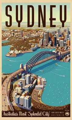 Sydney, Splendid City - Vintage Travel Poster by James Northfield www. - Sydney, Splendid City – Vintage Travel Poster by James Northfield www. Old Poster, Music Poster, City Poster, Poster Poster, Poster Ideas, Posters Australia, Plakat Design, Tourism Poster, Photo Vintage