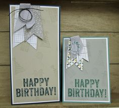 Stampin' Up UK Demonstrator Sarah-Jane Rae Cards and a Cuppa blog: A Duo of Men's Cards using the Banners Framelits and Birthday Surprise by...