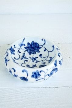 Vintage Blue & White Ceramic Soap Dish