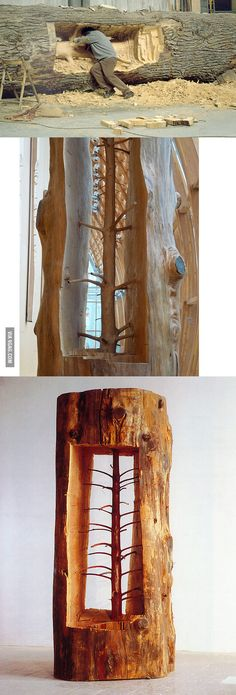 Giuseppe Penone removes growth rings to reveal the original sappling