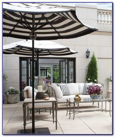 Awesome Black And White Striped Outdoor Patio Umbrella