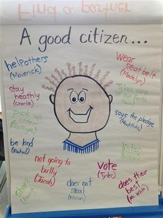 This activity of a citizenship anchor chart can be completed in class or in small groups. Students can list and discuss many things that individuals can do in the community or class that makes them a good citizen. Kindergarten Social Studies, Social Studies Activities, Teaching Social Studies, Teaching Kindergarten, Learning Activities, Teaching Kids, Citizenship Activities, Citizenship Lessons, Good Citizen