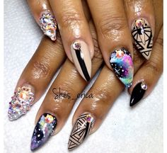 SWAROVSKI Crystals  Nude & Black Galaxy Stiletto Nails. .