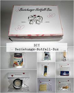 DIY Beziehungs-Notfall-Box + Anleitung:  DIY, Basteln, Selbermachen, Geschenke, Geschenkideen. Jahrestag, Jahrestaggeschenke, Hochzeit, Hochzeitgeschenke, Liebesgeschenke...