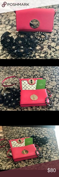 "Kate Spade Newbury Lane Sally Leather Crossbody A petite crossbody from KSNY's Newbury Lane collection strawberry color with signature hardware is a perfect pick for daily travels. Features: Crossbody in saffiano leather with matching trim Front signature engraved turn-lock closure. Custom 14-karat light gold plated hardware Flap with turn-lock closure. Lined. Interior one slip pocket. 4.9""h x 7.4""w x 1.1""d 22"" Drop kate spade Bags Crossbody Bags"