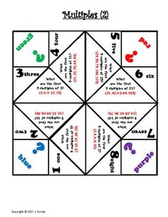 Cootie catchers factors/multiples