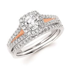 Halo Bridal: 3/8 Ctw. Diamond Halo Semi Mount available for 1/2 Ct. Round Center Diamond in 14K White & Rose Gold