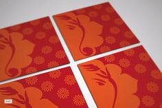 India inspired red and orange design by Ananya Cards.