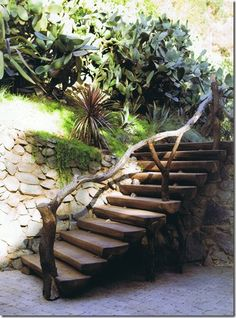 Natural Look for Banister for outdoor steps...