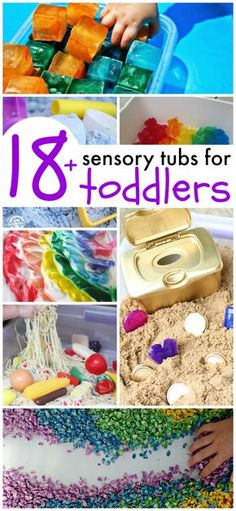 Awesome sensory tubs for toddlers! These look like so much fun and all are SAFE for even the youngest of kiddos!