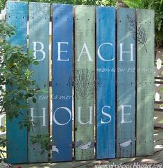 """DIY Wood Pallet Decor Ideas - Maybe a """"Welcome to Our Beach House""""?"""