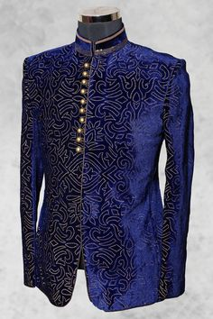 #Royal blue good looking #velvet suit with bandhgala collar-ST463