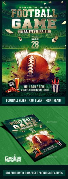 Football Flyer Template PSD Flyer template, Template and Event - sports flyer template