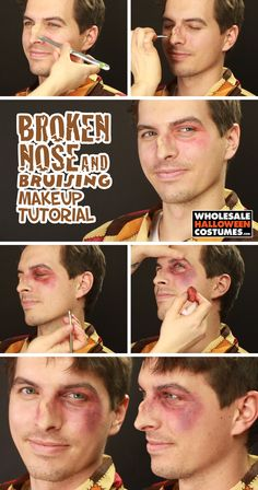 Broken Nose and Bruising Makeup Tutorial – Top Popular Make-Up Bruises Makeup, Scar Makeup, Nose Makeup, Fx Makeup, Teen Makeup, Fake Wounds, Broken Nose, Halloween Makeup, Halloween Costumes