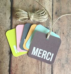 Merci gift tags - french thank you tags - party favor tags - wedding stationery - bridal shower favor tags. $10.50, via Etsy.