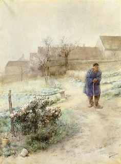 """Carl Larsson """"November/Rimfrost"""" (1882). Målades i Grez tillsammans med Oktober (Pumporna). Akvarell. Göteborgs Konstmuseum."""
