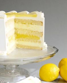 Luscious Lemon Mousse Cake might be the perfect layer cake. Lemon cake with Limoncello syrup, zesty lemon curd and creamy lemon mousse. (Limoncello liquor is optional. Lemon Mousse Cake, Lemon Layer Cakes, Lemon Cakes, Coconut Cakes, Lemon Desserts, Lemon Recipes, Just Desserts, Health Desserts, Food Cakes