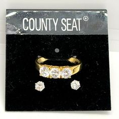 County Seat CZ Gold Tone Sz 10.25 Ring and Silver Tone Earrings Set NOS #Unbranded 90s Jewelry, County Seat, Earring Set, Heart Ring, Rings, Silver, Gold, Ring, Heart Rings
