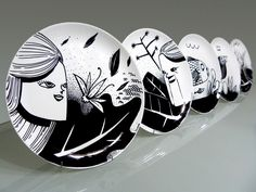 #plate #plates #handmade #art #paint #handpainted #monochrome #b&w #black #white #faces #characters #nature #dish #dishes #frame