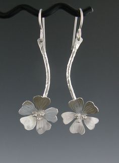 "Earrings |  Anne Walker.  ""Cherry Blossoms"".  Sterling silver."