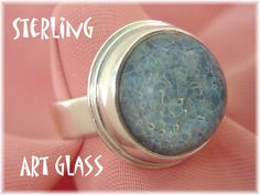 Ocean Blue Art Glass High Dome Cabochon Handcrafted Ring - Size 6 - Big & Beautiful - Beach Girl - 1980s OOAK - Gift Boxed - FREE SHIPPING by FindMeTreasures on Etsy