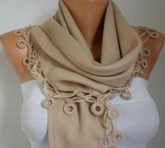 Women Pashmina Scarf - Cotton Scarf - Headband - Cowl with Lace Edge - Beige How To Wear Scarves, Pashmina Scarf, Cotton Scarf, Classy Dress, Tight Dresses, Feminine, Beige, My Style, Lace