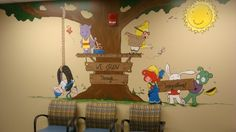 Animal characters mural in Pediatric office.