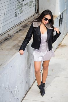 Metallic romper. Leather faux fur jacket. Booties. Fierce street style. For more fashionable outfits go to stylishlyinlove.blogspot.com
