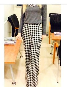 Wide leg chequered trousers