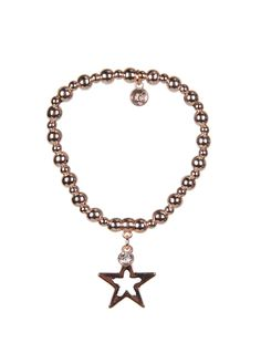 Stretch beaded bracelet in rose gold with cut out star charm, crystal and branded tag. Width of charm at widest point 2cm. Made from high quality lead and nickel free mixed metal. Designed in the UK. Gift wrapped in Olia Jewellery packaging.