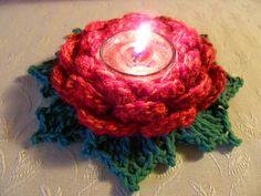 FREE PATTERN ~ C ~ @ http://www.ravelry.com/patterns/library/tealight-rose ~ Crochet Tealight Rose.