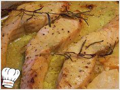 ΦΡΕΣΚΟΣ ΣΟΛΟΜΟΣ ΣΤΟ ΦΟΥΡΝΟ ΜΕ ΜΟΥΣΤΑΡΔΑ ΚΑΙ ΔΕΝΤΡΟΛΙΒΑΝΟ!!! - Νόστιμες Συνταγές της Γωγώς
