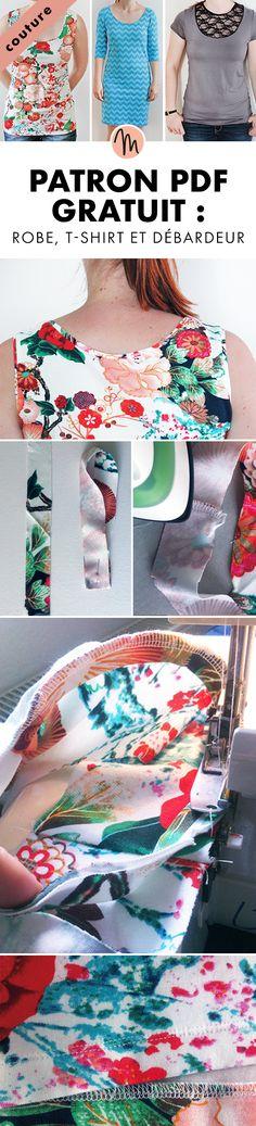 Patron de couture gratuit pour femme : T-Shirt, débardeur et robe avec 4 longueurs de manches et 2 variantes d'encolure. Emmanchure et encolure sont terminées avec du bord-côte. Visible ou plié et cousu vers l'intérieur ils infl uencent la taille de l'emmanchure et l'encolure.